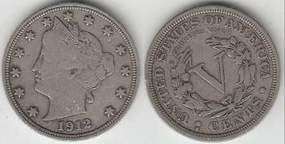 Better Date 1912-S Liberty Nickel Vf Details