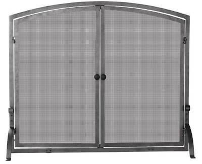 Double-Door Mesh Fire Place Screen w Iron Frame - 39 Inches Wide [ID 7482]