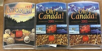 {BJSTAMPS}  Oh Canada Set of 7 Uncirculated coin sets  2000, 01, 02.