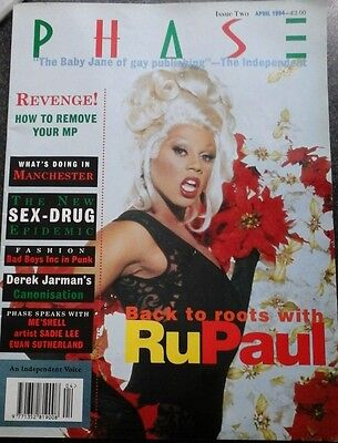 """PHASE"" MAGAZINE RUPAUL COVER APRIL 1994 EXTREMELY RARE ISSUE 2 1990s EX/EX"