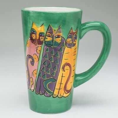 Laurel Burch 1997 Tall Ceramic Mug 16 ounces 3 Cats Green with minor defect