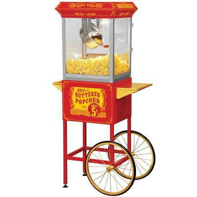 FunTime Full Size Carnival Style 8 oz. Hot Oil Popcorn Machine Cart  [ID 166862]