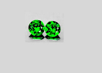 4 mm Round Matched Pair Fine Deep Rich Green Natural Sparkling Chrome Diopside