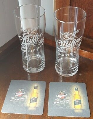Miller Genuine Draft,Draught Beer 425ml Glasses, with matching coasters X 2