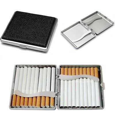 Black Pocket Leather Metal Tobacco 20 Cigarette Smoke Holder Storage Case New