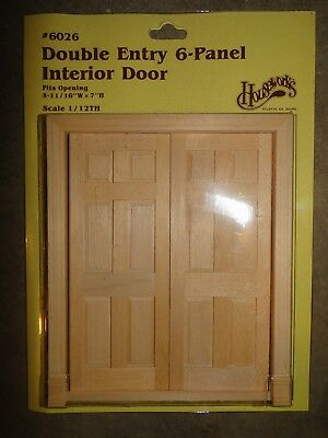 Miniature Wooden Double 6 Panel Interior Door #6026 With Trim 1/12 Scale