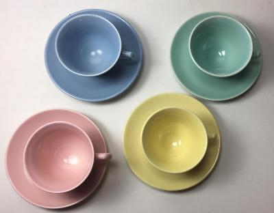 LuRay TS&T Cups & Saucers - FOUR SETS One Each Yellow Green Pink Blue 8 Pcs