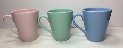 Lot of 3 Pastel 8 ounce Luray Style Coffee Mugs Cups (Unmarked)