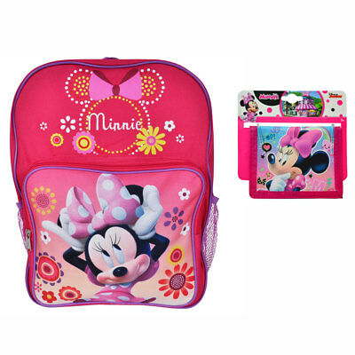 "Disney Minnie Mouse School 16"" Backpack Book Bag + Purse Wallet Girls Kids 3+"