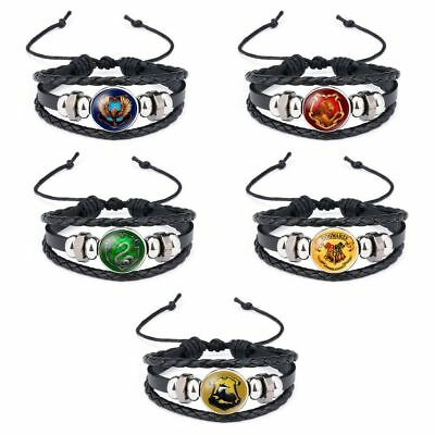 Harry Potter Woven Bracelet Griffindor Slytherin Ravenclaw Hufflepuff Badge Toys