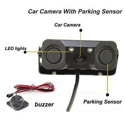 3in1 Parking Sensor Buzzer Car AUTO Reverse Backup Rear Radar System Sound Alarm