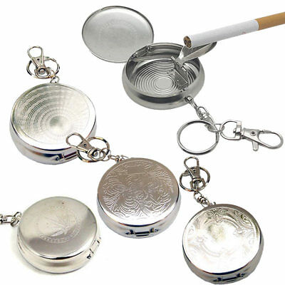 Hot New Pocket Stainless Steel Portable Round Cigarette Ashtray With Keychain