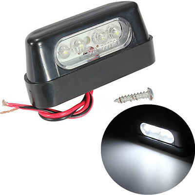 Universal 4 Led Luce Targa Bianco Portatarga Moto Scooter Illuminazione E-Marked