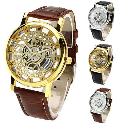 Fashion Men's Metal Band Stainless Steel Hollow Pattern Quartz Wrist Watch