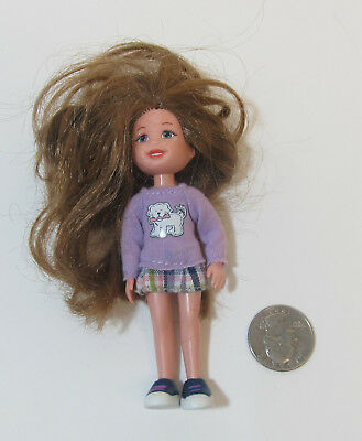 Lil Ones LEONIE Ty Inc Small Doll Purple Sweater Brown Hair