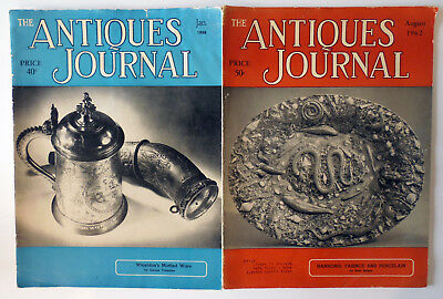 Vintage Lot of 2 The Antiques Journal Magazines Jan 1958 & August 1962