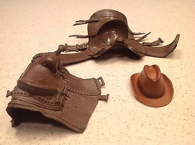 Marx Accessories For  Johnny West Series  Vintage Saddles and Hat Brown