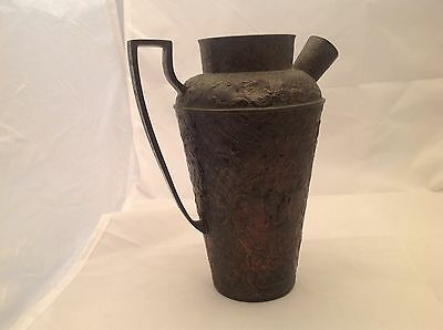 Antique W & G silverplate Pitcher W/ Strainer Spout Intact Floral Foliage Design