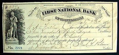 """Certificate of Deposit, 1st Nat'l Bank of Cooperstown NY. """"Leatherstocking"""""""