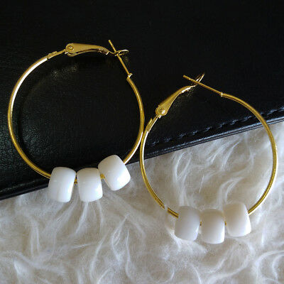 Womens Fashion Gold-Tone Ring White Plastic Beads Dangle Huggie Pierced Earrings