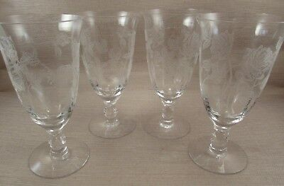 Heisey Crystal HEISEY ROSE Etched Iced Tea Goblets - Set of Four