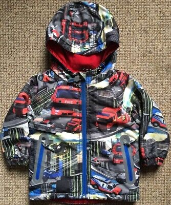 Next Baby Boys Winter Coat 12-18 Months Fire Engines Red Fleece Lined Warm