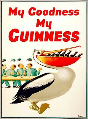 Guinness Beer Pelican Ireland Great Britain Vintage Travel Art Poster Print