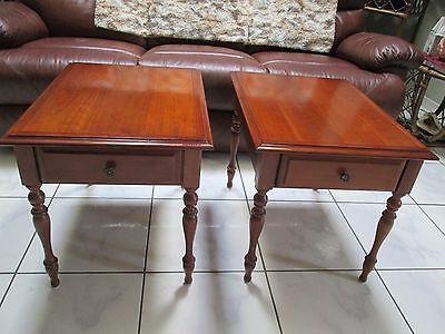 Lovely Pair Of Vintage Wood End Tables With Drawer