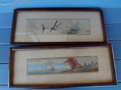 Antique  Old Pair Japanese Watercolors