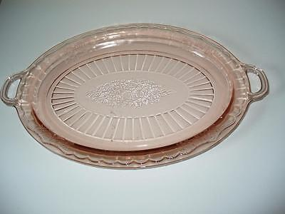 Pink Depression Glass Serving Plate Oval With Handles Etched Glass 14 x 9