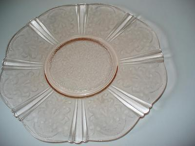 Pink Depression Glass Serving Plate Charger Etched Pattern Scalloped Edge 12""
