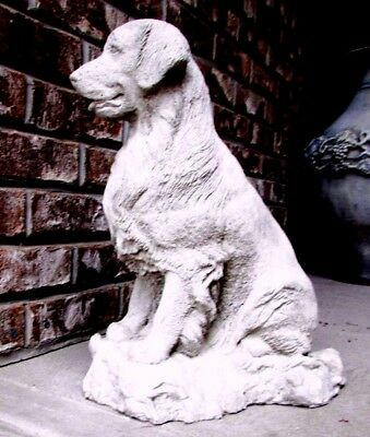 Concrete Golden Retriever Dog Statue/ Memorial, Grave Marker , Wet Look Sealed