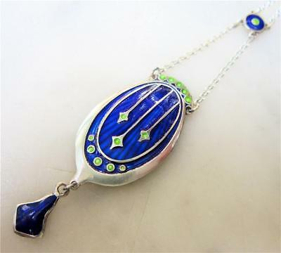 Beautiful Art Nouveau Style Sterling Silver and Enamel Pendant