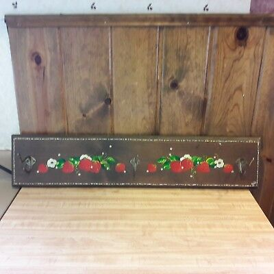 Vintage Handmade Wood Wall Coat Hat Rack From Old-Time Farm Auction -b-e