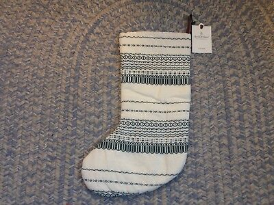 NWT Chip/Joanna Gaines HEARTH & HAND Christmas Stocking Striped Green Ivory