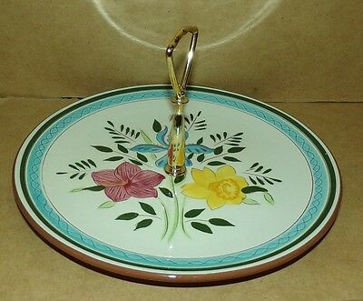 Stangl Country Garden Pattern tidbit Serving Tray with Center Handle EUC