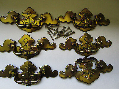 "Set of 6 ANTIQUE ROUND VINTAGE BRASS KBC DRAWER PULLS 6 1/2"" LONG"