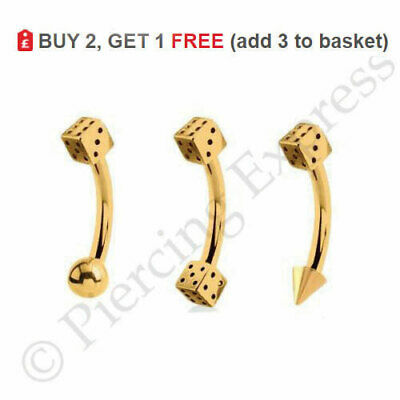 GOLD Eyebrow Bar Curved Barbell Piercing Banana Ring 16g 1.2 Anodized Steel DICE