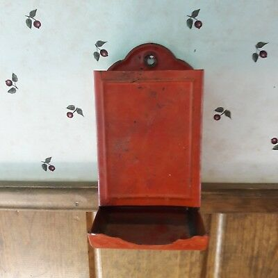 Old Chippy Shabby Primitive Looking Metal Match Box Holder From Farm Auction-6-b
