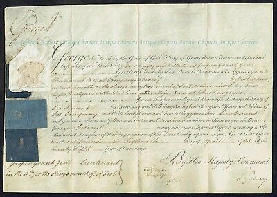 1785 King's Own Regiment Of Foot Lieut Jasper Grant George III Signed Commission