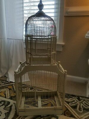 "Vintage Ivory Wood Bird Cage  Wooden Wire Cathedral Victorian Dome  34""x14""x9.5"""