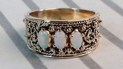 Vintage 10k Yellow Gold Fire Opal Band Ring 10mm 6.3 Grams
