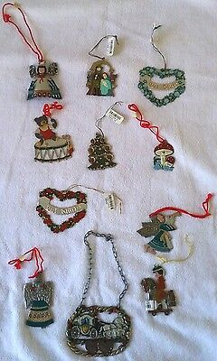 **LOT OF 11** Vintage German Pewter Hand Painted Christmas Ornaments Kuhn