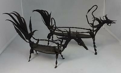 Pair of Antique Hand Wrought Iron Decorative Animal Figures Prob. Chinese