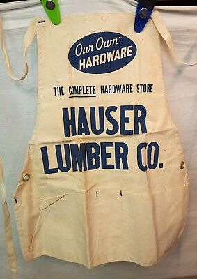 "Vintage Cloth Carpenters Full Apron ""Our Own"" HARDWARE Brass Grommets Lumber Co"