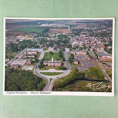 Dover Delaware Capital Buildings Complex Postcard Vtg Aerial View Unposted