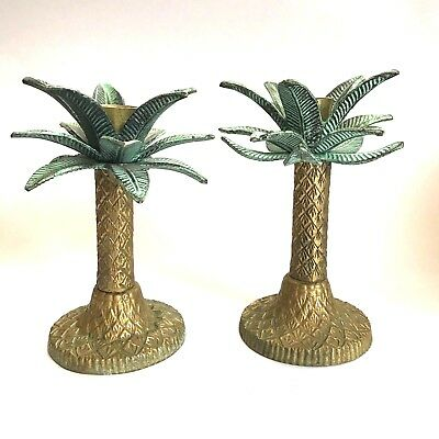 Beautiful Vintage Pair Solid Brass Tropical Palm Tree Candle Holders