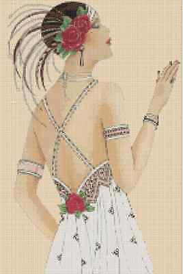 Cross Stitch Chart ART DECO LADY IN WHITE DRESS AND RED ROSES No. 1-7