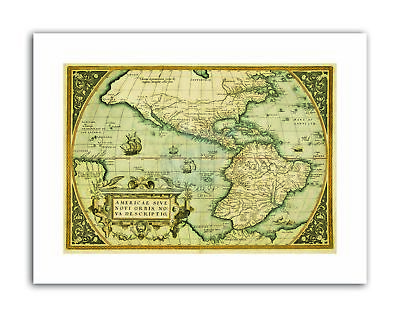 MAP ANTIQUE MEXICO SOUTH AMERICA PACIFIC OCEAN NEW SPAIN Poster Picture Vintage