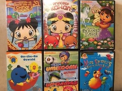 Lot of 6 Childrens DVDs - Kai-Lan Dora Oswald UmiZoomi Miss Spider